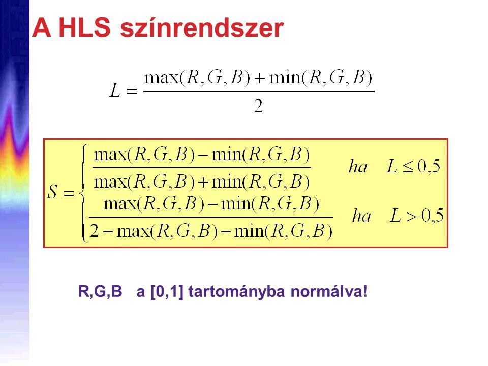 A HLS színrendszer R,G,B a [0,1] tartományba normálva!